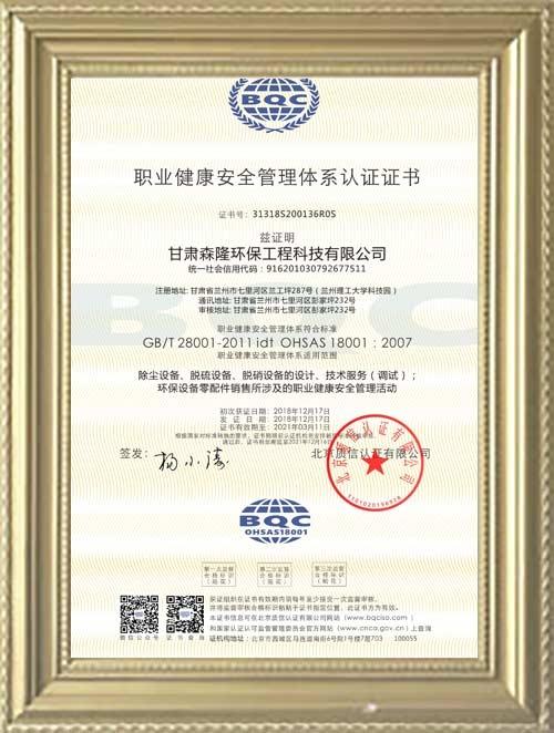 职业健康安全管理体系认证证书(汉)